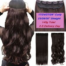 Real Long 100% Natural Extensions Clip in HAIR EXTENTIONS 5 Clips On Human Fake