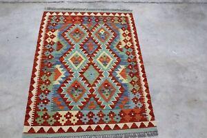 Afghan Kundoz Genuine Handmade Tribal Nomad Multi Colour Wool Kilim Rug 85x120cm