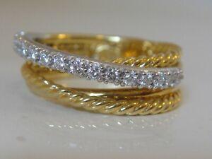 DAVID YURMAN 18K  GOLD CROSSOVER DIAMOND RING