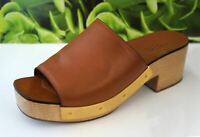 ROSETTA GETTY 39 Camel Brown Leather Open Toe Wood Platform Mules Clogs 8.5