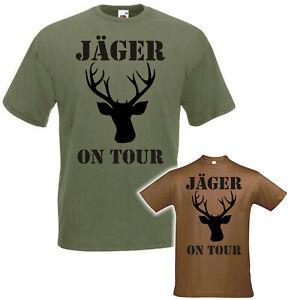 Jäger on Tour Herren T-Shirt Oliv Hirsch Wald Jagd Geweih Waidmann Jagen Hunter
