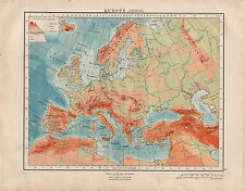 1914 MAP ~ EUROPE PHYSICAL ~ LAND HEIGHTS ~ SPAIN ITALY SCANDINAVIA ALPS