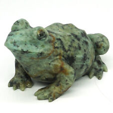 Frog Figurine Natural Stone African Turquoise Carved Animal Statue Decor 3.54""