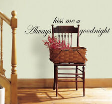 Quote: ALWAYS KISS ME GOODNIGHT wall stickers room decor 17 decals inspirational