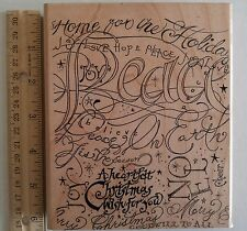 """Big Christmas Holiday Rubber Stamp GREETING WISHES Wood Mounted Stampin Up 5""""x6"""""""