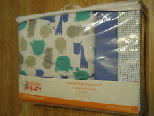 GIGGLE BABY 3PC. CRIB BEDDING BLANKET 33''X43'' BLUE SHEET & BED SKIRT