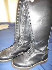 Dr. Martens Boots Womens Tall 20-Eye Leather Side Zip Lace Up Black Size 9-9.5