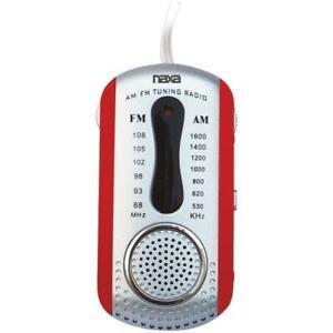 Naxa NR721RD AM/FM Mini Pocket Radio w/Speaker (Red)