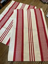 Ralph Lauren 2 Standard Red Cream Striped Cotton Pillowcases