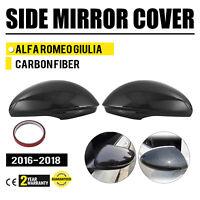 FOR 2017-18 ALFA ROMEO GIULIA QUADRIFOGLIO CARBON FIBER SIDE MIRROR COVER CAPS