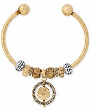 NWT Lucky Brand Two-Tone Orbital Circle Beaded Cuff Bracelet