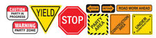 CONSTRUCTION SIGNS wall stickers 10 decals room decor Stop Warning Yield Detour