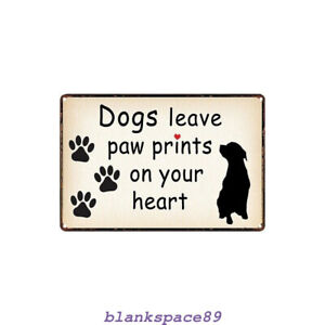 Metal Tin Sign dog leaves paw prints on your heart Decor Bar Pub Home Vintage 98