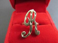 14k Solid Gold Diamond Cut Letter R Monogram Signet Ring Size 5.5