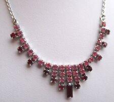 collier ancien bijou vintage couleur argent cristaux couleur rose et rubis 1774