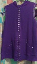 Quacker Factory Womans Purple Size S Zip Front Embellished Sleeveless Hoodie