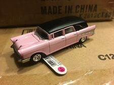 Johnny Lightning / ERTL Collect & Play   1957 Chevrolet Hearse.  pink