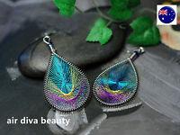 Women bohemian boho Vintage peacock look Retro Party Colorful Ear Drop Earrings
