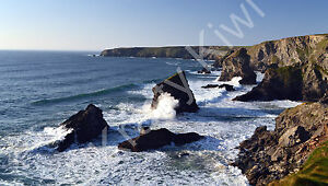 Bedruthan Steps Cornwall Photo Canvas 12 x 22 inch panoramic (UK)