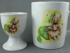 Egg Cup Holder & Mug Bunny Rabbit Decor Japan Watering Can Easter Set Crown Art