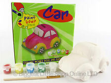 Paint Your Own Ceramic CAR MONEY BOX  with Paints in Colourful Box get CREATIVE
