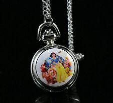 Disney Princess Snow White  Necklace Pocket Watch Child Boy Girl Watch Fashion