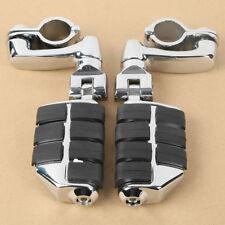"Universal 1 1/4"" 32mm Chrome Highway Foot Peg Rest Long Mount For Harley Honda"