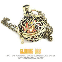 Steampunk necklace jewelry glow in the dark fire globe orb pendant charm