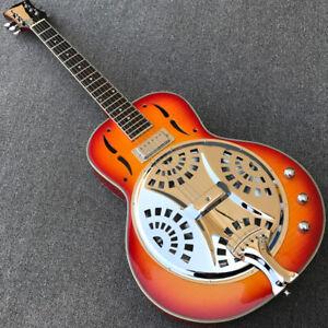 Grote Cherry Sunburst Dobro Resonator Steel Electric Guitar with Flame Maple top