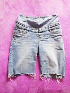 H&M Mama maternity Size M mid over bump denim shorts - Light blue