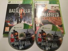 3 XBOX 360 GAMES BATTLEFIELD 3 III +BATTLE FIELD 4 IV & BATTLEFIELD HARDLINE PAL