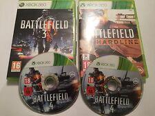 3 XBOX 360 GAMES BATTLEFIELD 3 III +BATTLE FIELD 4 IV & BATTLEFIELD HARDLINE PAL
