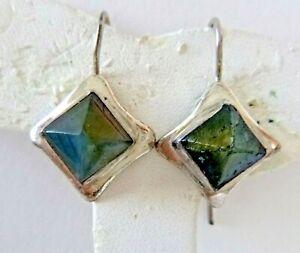 Artisan Labradorite Earrings Sterling Silver Settings Pierced Style