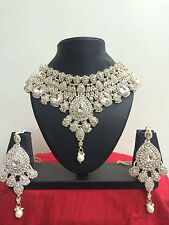 Indian Bollywood Wedding Party Wear Necklace Earrings Costume Jewellery Set