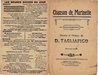 Ancienne Partition Chanson de Marinette Souvenir D.Tagliafico