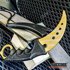 """7.5"""" Fixed Blade Knife STEEL BLADE Karambit Trainer Dull Tiger Gold Safety Edge"""
