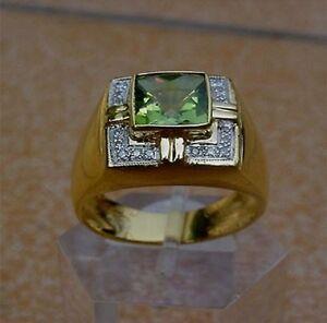Men's 18K Solid Gold Natural Peridot Ring