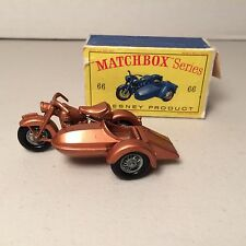 VTG MATCHBOX # 66 LESNEY 1962 HARLEY DAVIDSON MOTORCYCLE SIDECAR-BOX-BIKE MINTY