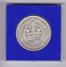 1937 Sterling Silver Crown Coin Australia King George V1 Cased T-631