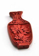 Vintage Chinese Lacquer Red Cinnabar Hand Carve Bead Pendent Jewelry Vase Fu One