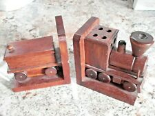 Vintage Standard Specially Co. Wood Train Bookends & Multi-Function See info.