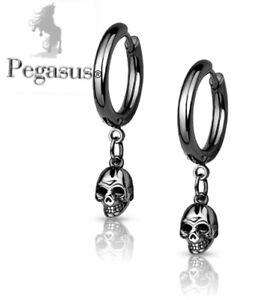 NEW Quality Black Titanium Gothic Skull Skeleton Dangle Hoop Pair Earrings