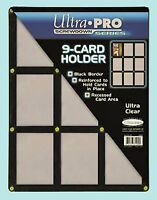 ULTRA PRO BLACK FRAME 9 CARD SCREWDOWN HOLDER New Clear Trading Storage Display