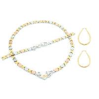 "Hugs & Kisses I love You Necklace Womens Tri color Bracelet 18"" XO Earrings Set"