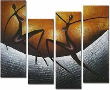 Art African Dancers Large Modern Stretched and Framed Oil Panting