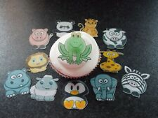 12 PRECUT edible wafer/rice paper Animals cake/cupcake toppers