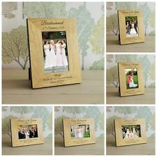 Wedding Party Role Wooden Photo Frame 6x4 - Personalised Engraved Gift