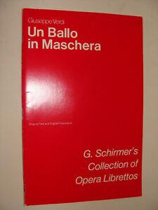 Opera Libretto Un Ballo in Maschera The Masked Ball Verdi Italian / English 1957