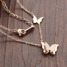 Rose Gold butterfly Necklace Pendant stainless steel Women Cute Sweet Jewelry