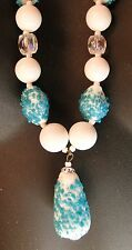 Vintage Signed JAPAN Necklace Mid Century Blue Sugar roll Beads Milk glass